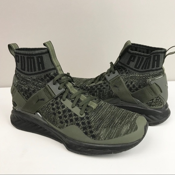 f1f406097a435a Puma men ignite evoknit wave olive green trainers.  M 5bf596d39519964678ace339